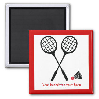 Badminton gifts, racquet and shuttlecock custom 2 inch square magnet