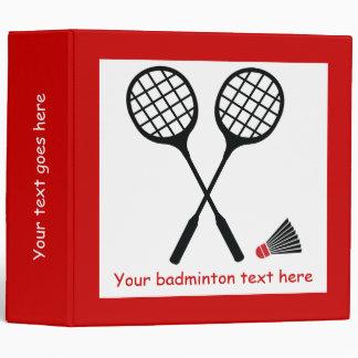 Badminton gifts, racquet and shuttlecock custom 3 ring binder