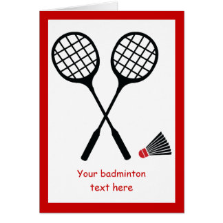 Badminton gifts, racquet and shuttlecock custom card
