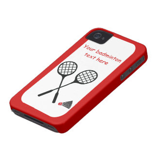 Badminton gifts, racquet and shuttlecock custom Case-Mate iPhone 4 case