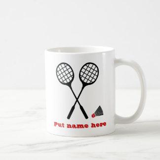 Badminton gifts, racquet and shuttlecock custom coffee mug