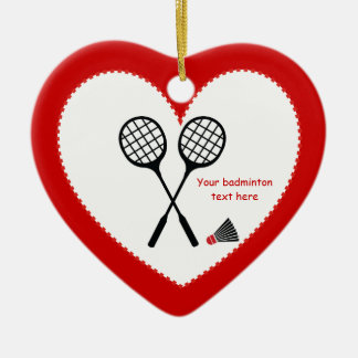 Badminton gifts, racquet and shuttlecock custom Double-Sided heart ceramic christmas ornament