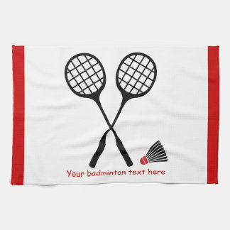Badminton gifts, racquet and shuttlecock custom kitchen towel