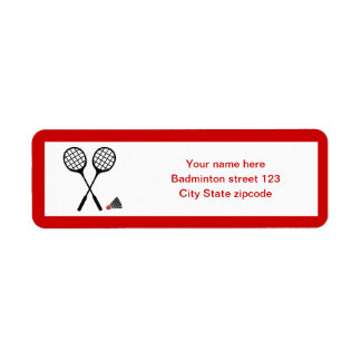 Badminton gifts, racquet and shuttlecock custom label