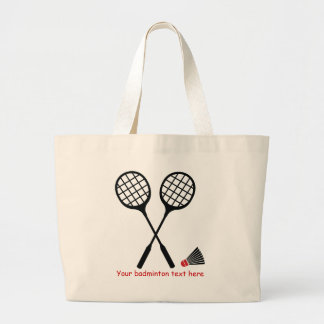 Badminton gifts, racquet and shuttlecock custom large tote bag