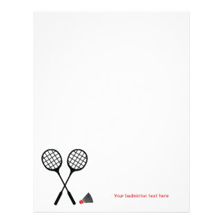 Badminton gifts, racquet and shuttlecock custom letterhead