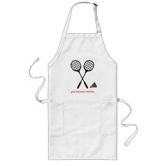 Badminton gifts, racquet and shuttlecock custom long apron