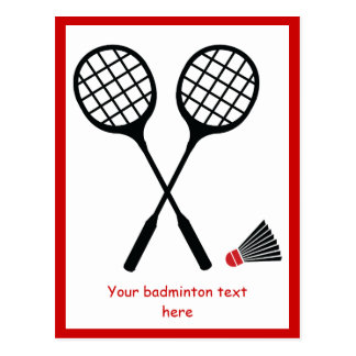 Badminton gifts, racquet and shuttlecock custom post card