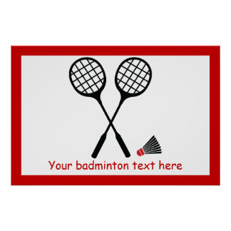 Badminton gifts, racquet and shuttlecock custom poster