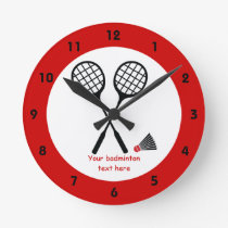 Badminton gifts, racquet and shuttlecock custom round clock