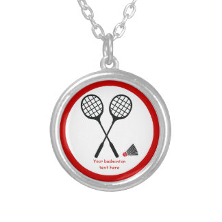 Badminton gifts, racquet and shuttlecock custom round pendant necklace