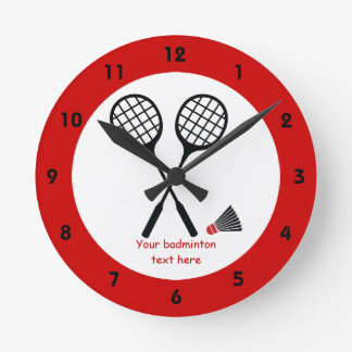 Badminton gifts, racquet and shuttlecock custom round wallclocks