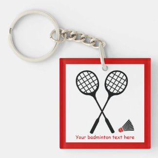 Badminton gifts, racquet and shuttlecock custom Single-Sided square acrylic keychain
