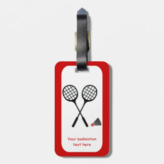 Badminton gifts, racquet and shuttlecock custom tag for luggage