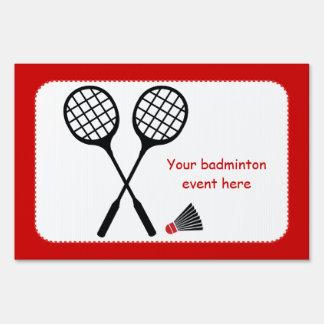 Badminton gifts, racquet and shuttlecock custom yard sign