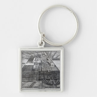 Badminton House in the County of Gloucester Silver-Colored Square Keychain