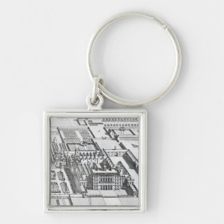 Badminton House on the County of Gloucester Silver-Colored Square Keychain