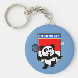 Basic Button Keychain with Indonesian Badminton Panda design