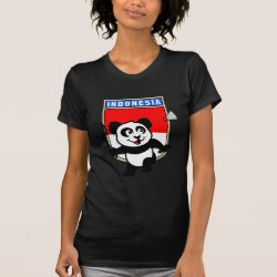 Women's American Apparel Fine Jersey Short Sleeve T-Shirt with Indonesian Badminton Panda design