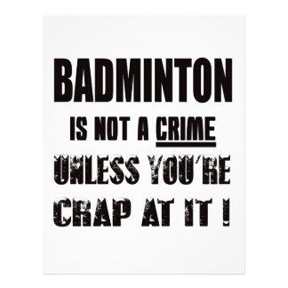 Badminton is not a crime letterhead