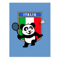 Postcard with Italy Badminton Panda design