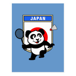 Postcard with Japan Badminton Panda design