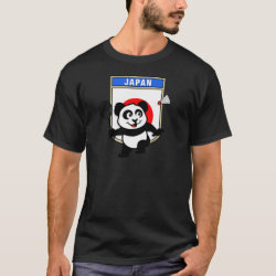 Men's Basic Dark T-Shirt with Japan Badminton Panda design