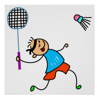 Badminton Kid Poster