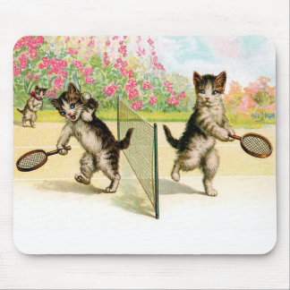 Badminton Kittens Vintage Art Mouse Pad