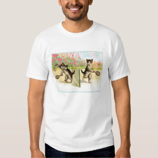 Badminton Kittens Vintage Art T-Shirt