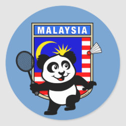 Round Sticker with Malaysia Badminton Panda design