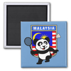 Square Magnet with Malaysia Badminton Panda design