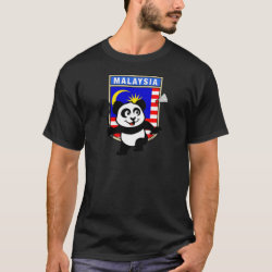 Men's Basic Dark T-Shirt with Malaysia Badminton Panda design