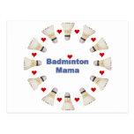 Badminton Mama Hearts Postcard