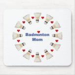 Badminton Mom Hearts Mouse Pad
