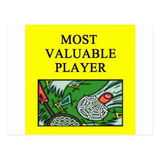 BADMINTON most valuable player Postcard