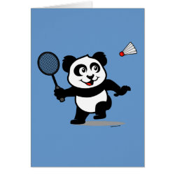 Greeting Card with Cute Badminton Panda design