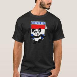 Men's Basic Dark T-Shirt with Dutch Badminton Panda design