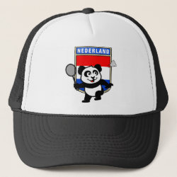 Trucker Hat with Dutch Badminton Panda design