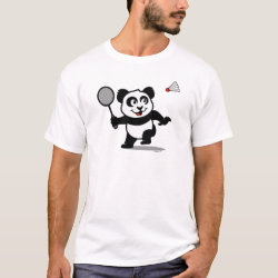 Men's Basic T-Shirt with Cute Badminton Panda design