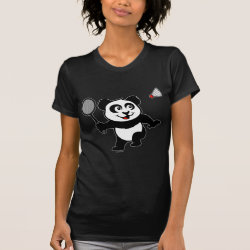 Women's American Apparel Fine Jersey Short Sleeve T-Shirt with Cute Badminton Panda design