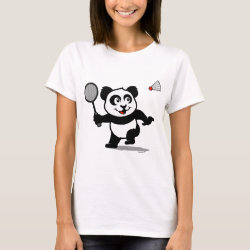Women's Basic T-Shirt with Cute Badminton Panda design