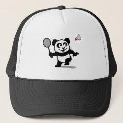 Trucker Hat with Cute Badminton Panda design