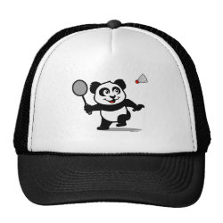 Trucker Hat with Cute Badminton Panda design