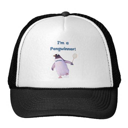 Badminton Penguin Trucker Hats