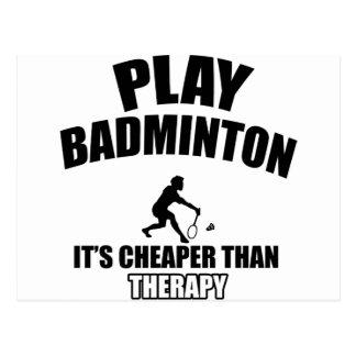 Badminton player designs postcard