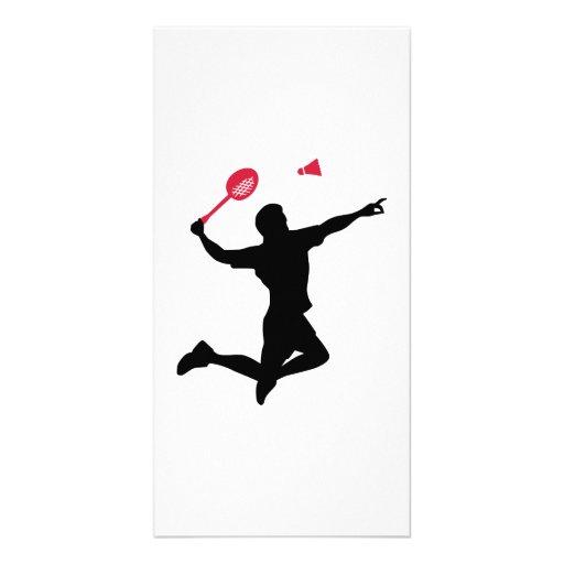 Badminton player jump photo greeting card
