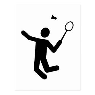 Badminton player postcard