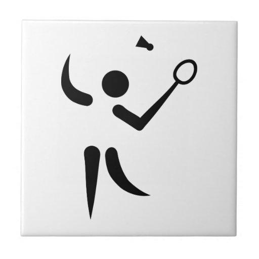Badminton player symbol tiles