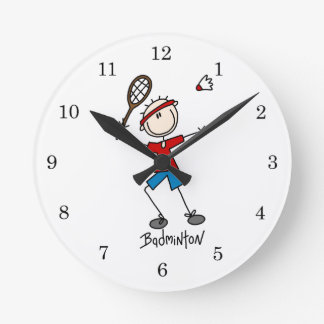 Badminton Player T-shirts and Gifts Round Wallclocks